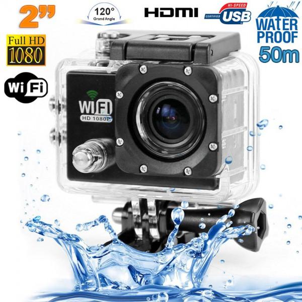 caméra sport wifi étanche caisson waterproof 12 mp full hd noir